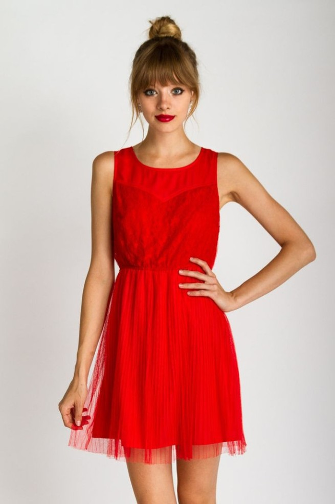 pleated red dress by mod&soul